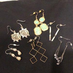 6 sets of hanging earrings